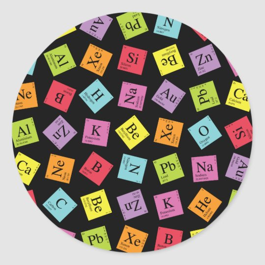 Elementary Periodic (Dark) Classic Round Sticker