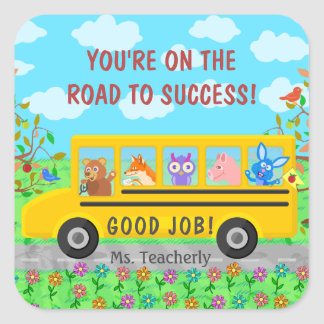 Elementary School Cute Bus Road to Success Class Square Sticker