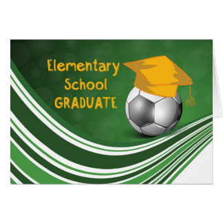 Elementary School Graduation, Soccer Ball and Hat Card