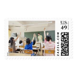 Elementary school students at school 2 postage