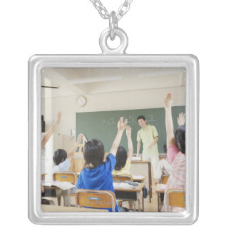 Elementary school students at school 2 silver plated necklace