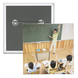 Elementary school students at school pinback button