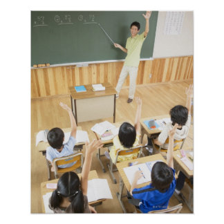 Elementary school students at school poster
