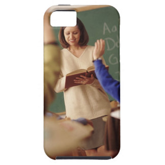 Elementary school students raising their hands iPhone 5 cover