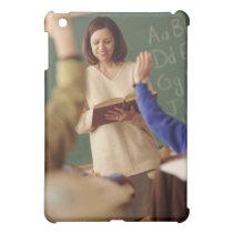 Elementary school students raising their hands iPad mini case