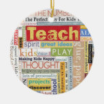 Elementary School Teacher Double-Sided Ceramic Round Christmas Ornament