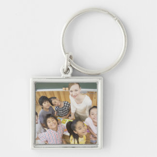Elementary students and teacher key chain
