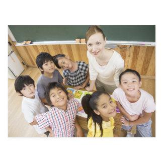 Elementary students and teacher postcard