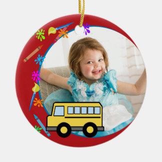 Elementary Years School Bus Photo Ceramic Ornament