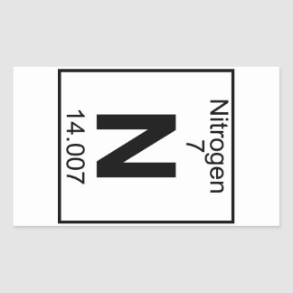 Elemento 007 - N - Nitrógeno (lleno) Pegatina Rectangular