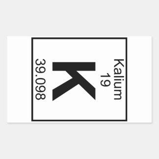 Elemento 019 - K - Kalium (lleno) Pegatina Rectangular