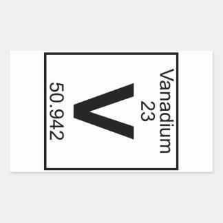 Elemento 023 - V - Vanadio (lleno) Rectangular Pegatinas