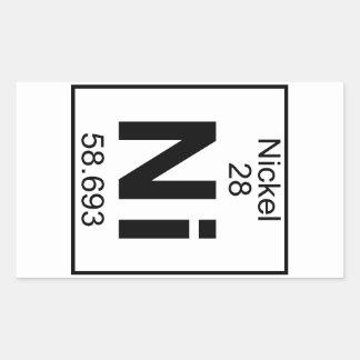 Elemento 028 - Ni - Níquel (lleno) Pegatina Rectangular
