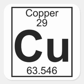 Elemento 029 - Cu - cobre (lleno) Pegatina Cuadrada