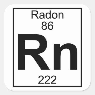 Elemento 086 - Rn - Radón (lleno) Pegatina Cuadrada