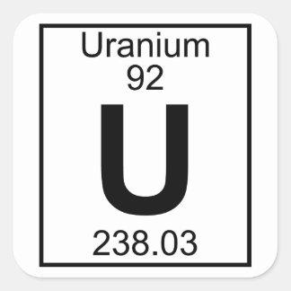 Elemento 092 - U - Uranio (lleno) Pegatina Cuadrada