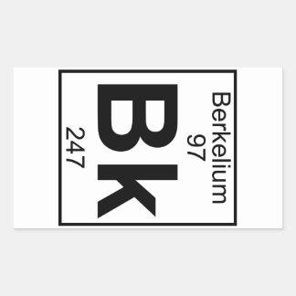 Elemento 097 - Bk - berkelio (lleno) Pegatina Rectangular