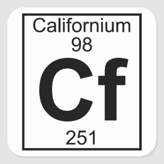 Elemento 098 - Cf - californio (lleno) Pegatina Cuadrada