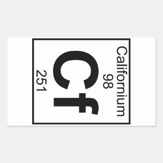 Elemento 098 - Cf - californio (lleno) Pegatina Rectangular
