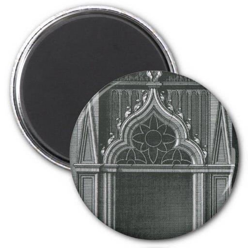 Elemento arquitectónico del vintage, entrada imán redondo 5 cm