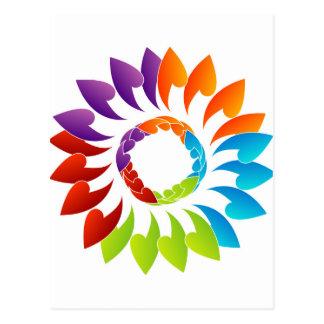 Elemento coloreado arco iris del diseño floral postal