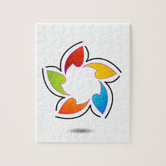 Elemento coloreado arco iris del diseño floral puzzle con fotos