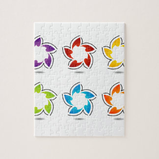 Elemento coloreado arco iris del diseño floral rompecabeza