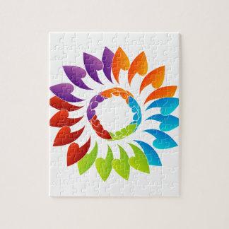 Elemento coloreado arco iris del diseño floral puzzle