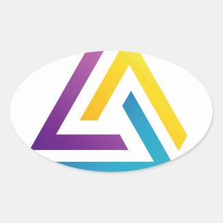 Elemento colorido triangular abstracto del diseño pegatina ovalada