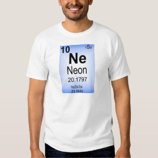 Elemento de tabla periódica de neón remeras