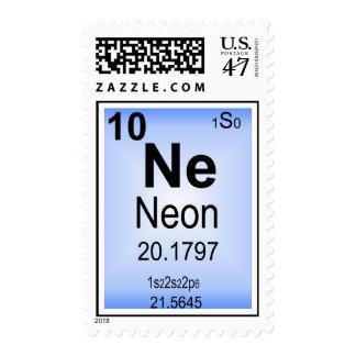 Elemento de tabla periódica de neón sellos postales