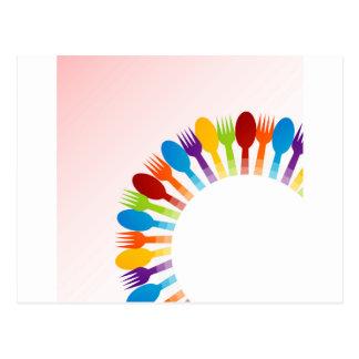 Elemento del diseño con las cucharas y las postales