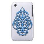 Elemento del diseño del nouveau del arte en azul d Case-Mate iPhone 3 carcasas