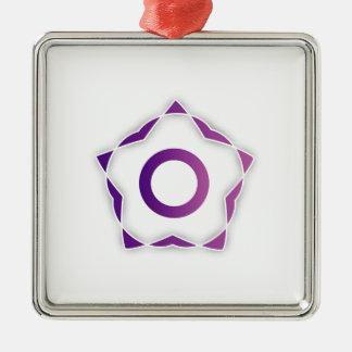Elemento estilizado del diseño floral adorno cuadrado plateado