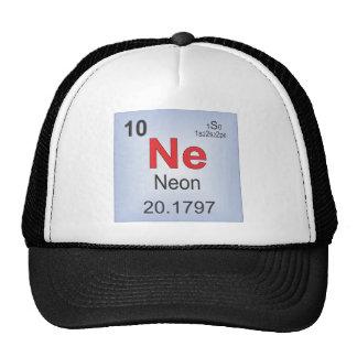 Elemento individual de neón de la tabla periódica gorro de camionero