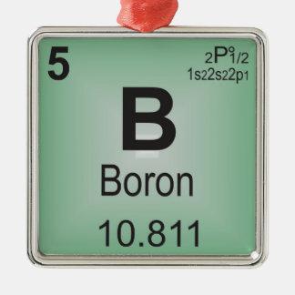 Elemento individual del boro de la tabla periódica adorno navideño cuadrado de metal