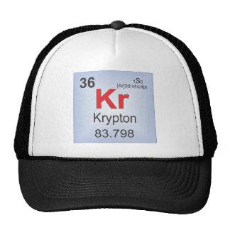 Elemento individual del criptón de la tabla periód gorras