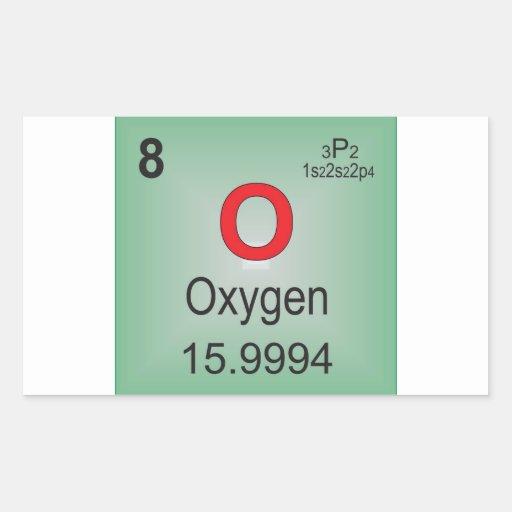 Elemento individual del oxígeno de la tabla pegatina rectangular