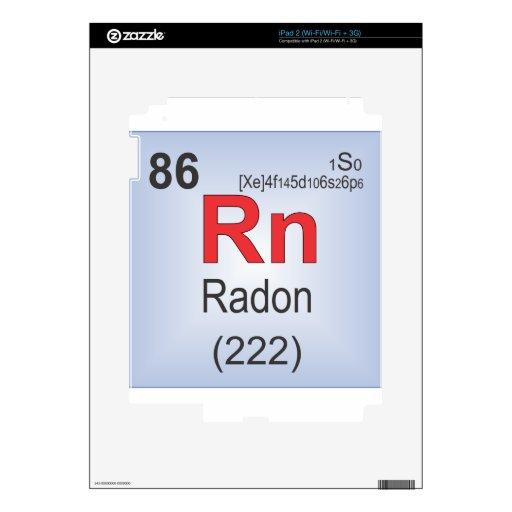 Elemento individual del radón de la tabla periódic skin para el iPad 2