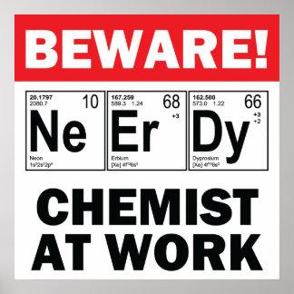 elemento-químico del empollón en el trabajo póster