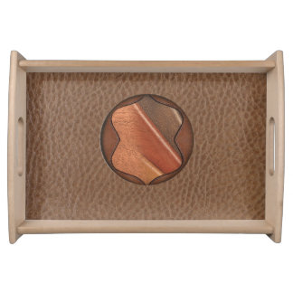Elementos cones monograma de la textura de cuero bandeja