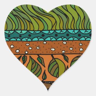 Elementos de la tierra pegatinas corazon