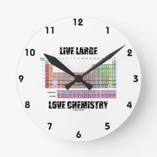 Elementos de tabla periódica grandes vivos de la q reloj redondo mediano