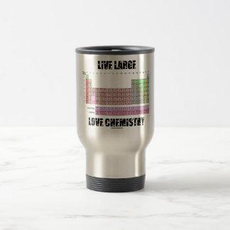 Elementos de tabla periódica grandes vivos de la q taza de viaje de acero inoxidable