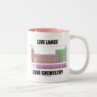 Elementos de tabla periódica grandes vivos de la taza de café de dos colores