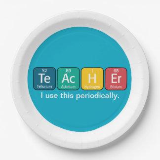 Elementos de tabla periódica que deletrean al platos de papel
