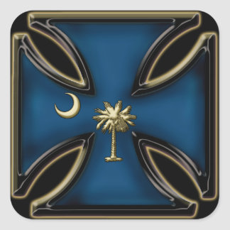 Elementos del oro de la cruz w del hierro del SC Pegatina Cuadrada