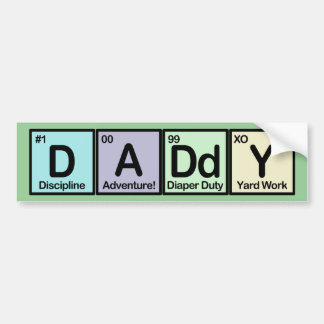Elementos del papá etiqueta de parachoque