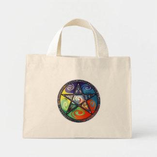 Elementos del pentáculo de Wiccan Bolsa De Mano