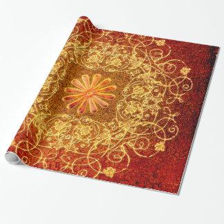 Elementos florales decorativos en amarillo papel de regalo